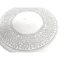 Beautiful Round Hand Carved Indian Wooden Coffee Table Side Table [Round Single Leg,White]