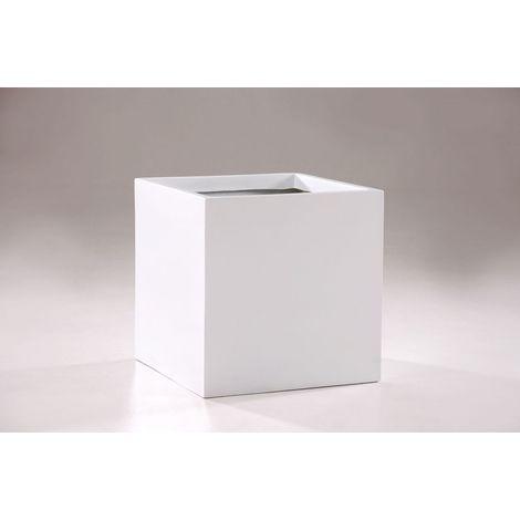 Pflanzkübel Blumenkübel Holz Würfel Block Shabby Chic Weiß 37 x 29 cm