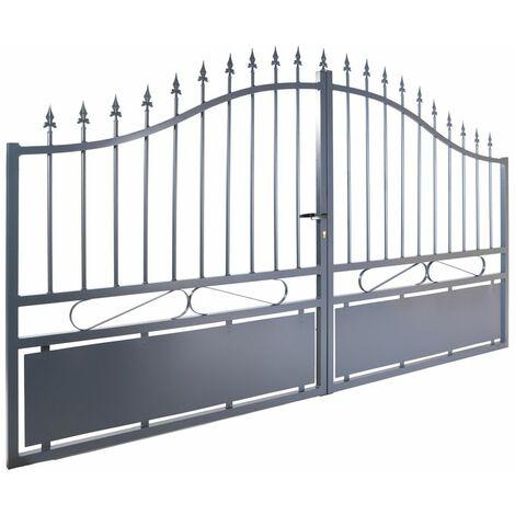 Portail aluminium double battants - Jais - Gris anthracite Passage : 3 Mètres
