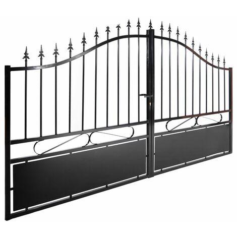 Portail aluminium double battants - Jais - Noir Passage : 3 Mètres