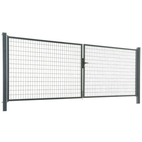 Portail grillagé maille 100 x 50 - largeur 4m Hauteur : 1.00 Mètre Gris Anthracite