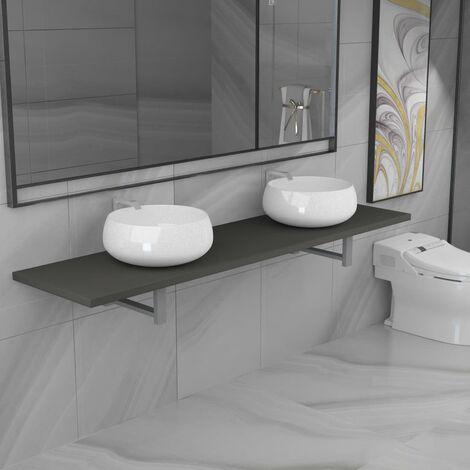 Hommoo 3-tlg. Badmöbel-Set Keramik Grau VD21611