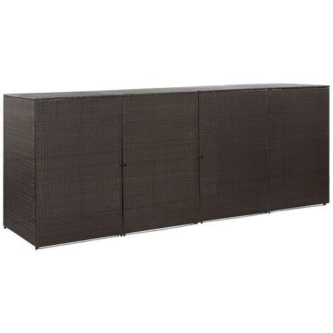 Hommoo Mülltonnenbox für 4 Tonnen Braun 305 x 78 x 120 cm Poly Rattan VD45642