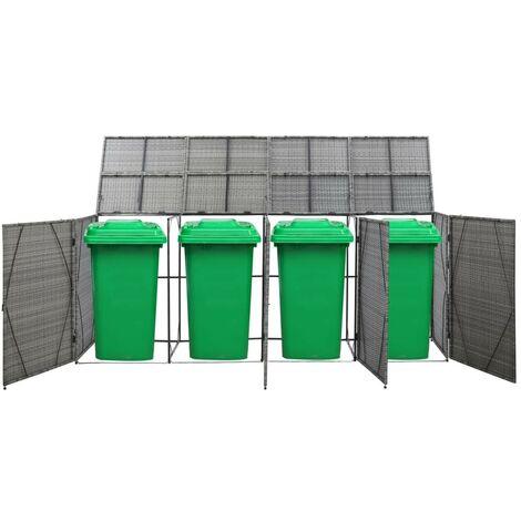 Hommoo Mülltonnenbox für 4 Tonnen Anthrazit 305x78x120 cm Poly Rattan VD45644