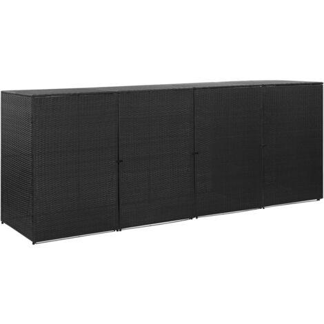 Hommoo Mülltonnenbox für 4 Tonnen Schwarz 305x78x120 cm Poly Rattan VD45643