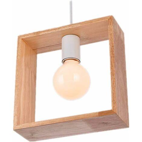 Kreative Industrielle Holz Deckenleuchte Moderne Pendelleuchte E27 Zeitgenossische Retro Hangelampe Fur Schlafzimmer Wohnzimmer Kinderzimmer Quadratische Form