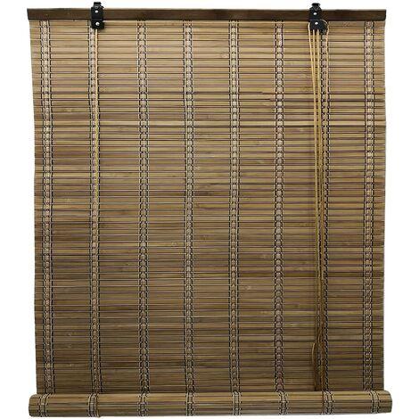 Estor de Bambú Enrollable, Persiana Manual 100% Bambu, Cortina Plegable de Madera, Estores Bamboo Regulable (60 x 175 cm, Marrón)
