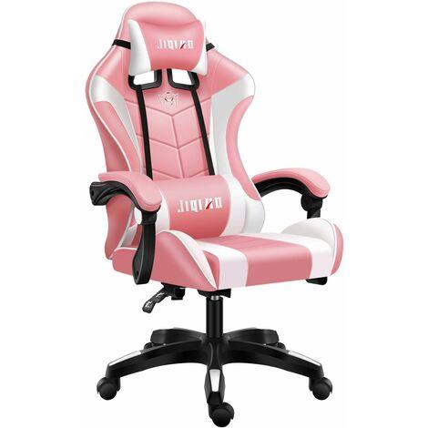 Chaise Gaming de Bureau Fauteuil - Chaise de Bureau Gamer - Chaise Gaming Ergonomique avec Appui-tête, Coussin Lombaire, Dossier Haut (Rose + Blanc)