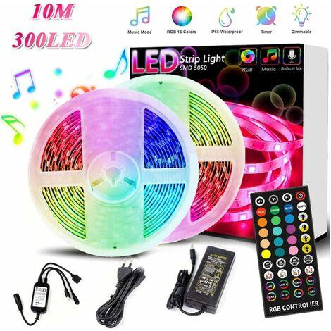 Tira LED RGB,10m Luces Led de Colores con 300 LED Control Remoto Led Strip Autoadhesiva IP65 Impermeable para Navidad, Party,TV pared Posterior,Tira Led Exterior/Interior(Tira de LED de 2 x 5 m)