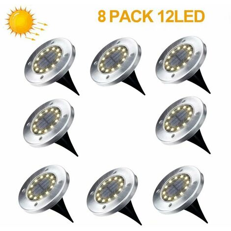 Lámpara solar para jardín al aire libre Paquete de 8 12 reflectores solares LED Luces solares para jardín al aire libre Blanco cálido IP65
