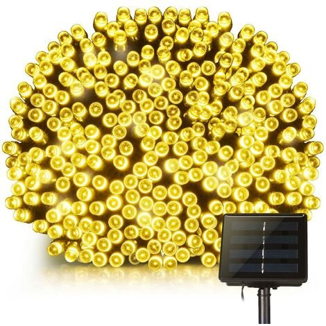 Luces de hadas solares, 200 LED, impermeables, al aire libre, 22 m, cadena de luces con 8 modos para jardín, hogar, patio, jardín, árboles, fiestas, bodas, blanco cálido [Clase energética A +]