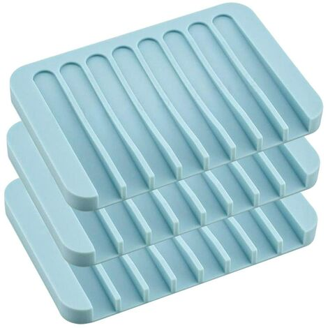 LangRay Juego de 3 jaboneras de silicona para baño o cocina Azul