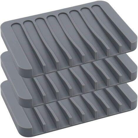 LangRay - Jabonera de silicona para baño o cocina, paquete de 3, gris