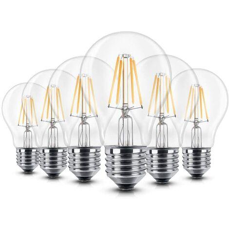 Bombilla LED E27 6 W Bombilla LED de intensidad Base E27 Bombilla LED blanco cálido Ángulo de iluminación 360 ° 60 W Bombilla LED Edison 680 lúmenes 2700 K