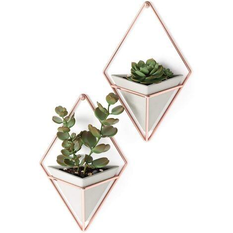 Florero de pared y decoración geométrica - Jardinera para plantas de interior, suculentas, plantas de aire, cactus, metal, hormigón / cobre, pequeño, 2