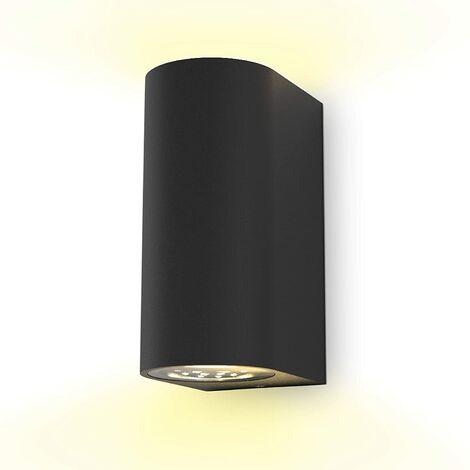 Aplique de pared LED I Aplique de exterior I Incluye 2 lámparas GU10 5W I Color de luz blanco cálido I 800 lúmenes I Lámpara de exterior I Lámpara de exterior I Foco de pared para interior y exterior I Negro