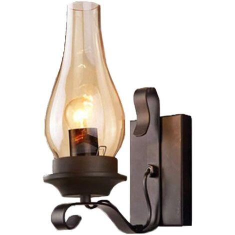 Lámpara de pared negra Lámpara de pared industrial Iluminación vintage Lámpara de pared retro para Champagne House Café Loft Cocina Sala de estar y dormitorio de hotel (Metal, Negro, bombillas no incluidas) [Clase energética A ++]