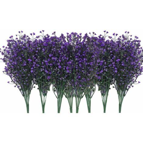 LangRay Plantas Artificiales Arbustos Arbustos, Flores De Plástico Falsas Interior Al Aire Libre Boda Hogar Jardín Veranda Cocina Oficina Centro De Mesa Arreglos Decoración De Navidad - Púrpura Oscuro 8 Piezas