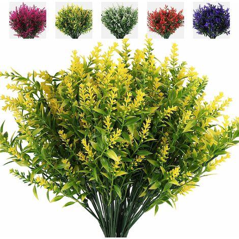 LangRay 8 ramos de flores artificiales de lavanda, utilizados para decoración exterior, protección UV, arbustos artificiales, arbustos verdes, casas, oficinas, jardines, terrazas, decoración interior y exterior (amarillo)