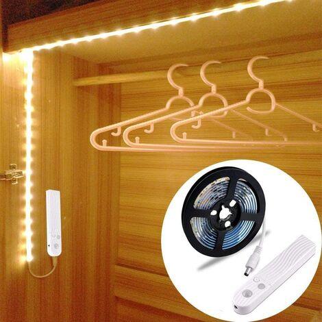 Tira de luz LangRay 60LED 1m, luz LED para guardarropas con luz nocturna con sensor de movimiento, se utiliza para: armario, base de cama, cocina, armario, etc. [6500K blanco]