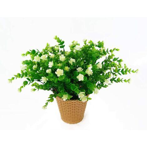 LangRay Flores artificiales de eucalipto, ramo de flores de plantas artificiales verdes, flores decorativas de plástico para jardín / hogar / boda / fiesta, 4 piezas (blanco)