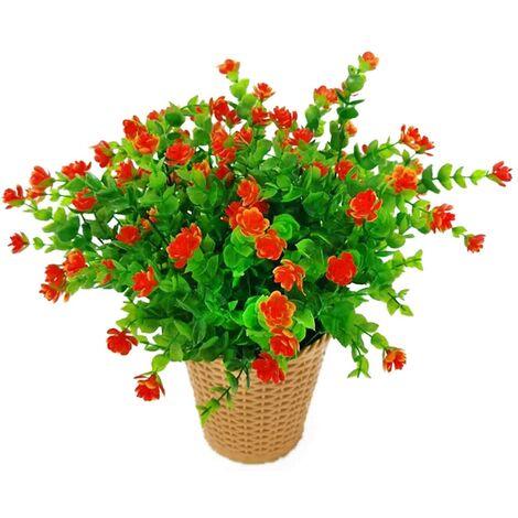 LangRay Flores artificiales de eucalipto, ramo de flores de plantas artificiales verdes, flores decorativas de plástico para jardín / hogar / boda / fiesta, 4 piezas (Sunset Red)