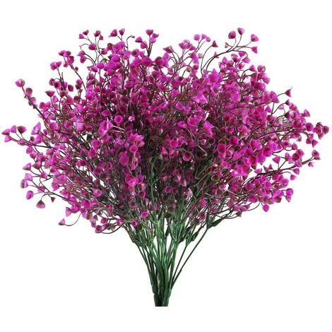 LangRay 4 piezas Artificial Gypsophila 7 ramas Flores artificiales Arbusto artificial Flores falsas Decoración púrpura para boda Hogar Jardín