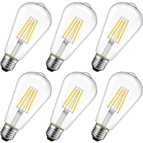 4W Edison Bombilla de filamento LED E27 ST64 (= Bombillas incandescentes decorativas 40W), 470Lm Blanco cálido 2700K, Bombilla retro de lámpara vintage, No regulable, Paquete de 6 [Clase energética A ++]