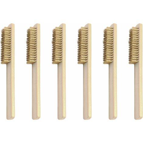 Juego de 6 cepillos de alambre, cepillo de latón, cepillo de alambre con cerdas de latón de 200 mm, para eliminar óxido, suciedad y pintura, para la industria