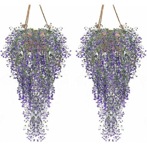 Conjunto de plantas artificiales de 2 plantas artificiales de vid de hiedra, flores artificiales para interiores y exteriores para decoración de paredes y jardines, púrpura