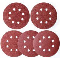 100 piezas lijadora excéntrica de papel de lija 125 mm Velcro, discos de lijado 8 agujeros Velcro redondo 125 mm para lijadora orbital 20x 40/60/80/120/180 grano por