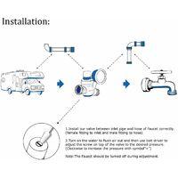 Regulador de presión de agua de latón sin plomo 3/4 con manómetro para regulador de presión de agua ajustable RV Camper, aceite integrado (roscas NH)