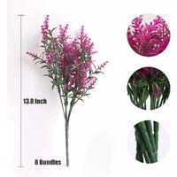 8 ramos de flores artificiales, plantas de exterior falsas, flores artificiales de lavanda UV, arbustos de plástico, adornos de interior y exterior (púrpura)