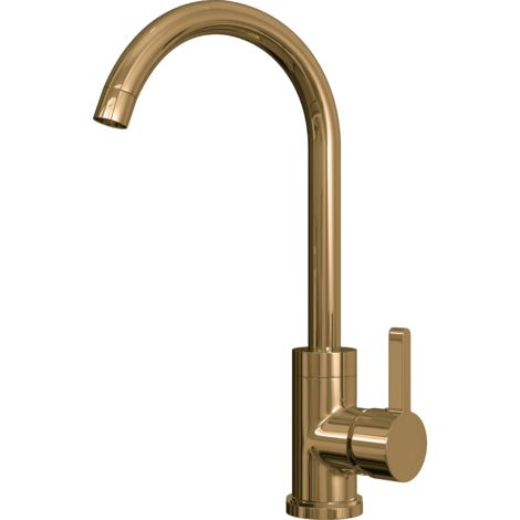 Olona Kitchen Mixer Tap with Swan Neck & Swivel Spout - Gold Finish