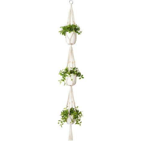 Macrame Plant Hanger 3 Tier Indoor Outdoor Hanging Cesto di piante in corda di cotone con perline 177 cm