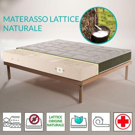 Kit Materasso Detraibile Lattice Naturale A Zone Con Tessuto In Aloe Alto 20 Cm Rete