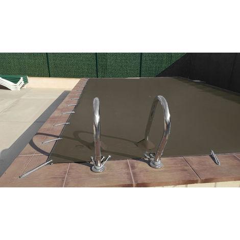 Cubierta de invierno para piscina de 3 x 4 m más 15 cm por cada lado para anclaje de color Marrón (exterior) / Marrón (interior)