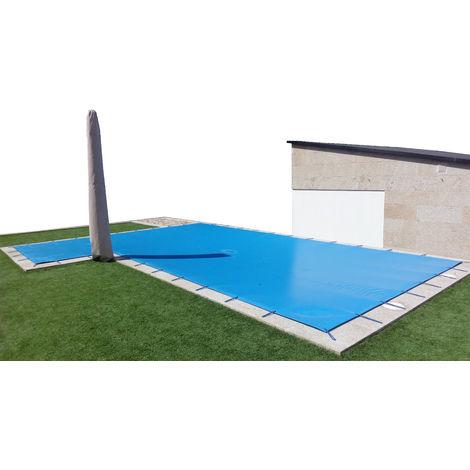 Cobertor de invierno para piscina de 4 x 8 m más 15 cm por cada lado para anclaje de color Azul (exterior) / Negro (interior)