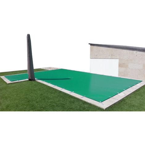 Cobertor de invierno para piscina de 3 x 4 m más 15 cm por cada lado para anclaje de color Verde (exterior) / Beige (interior)