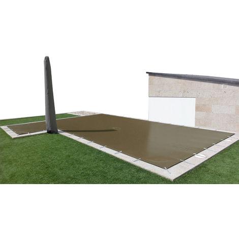 Cobertor de invierno para piscina de 3 x 4 m más 15 cm por cada lado para anclaje de color Marrón (exterior) / Marrón (interior)