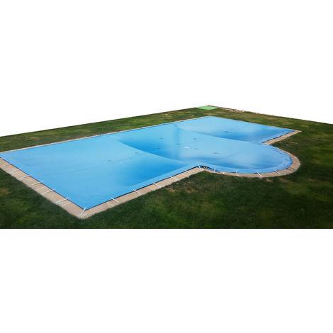 Lona de invierno para piscina de 4 x 8 m más 15 cm por cada lado para anclaje de color Azul (exterior) / Negro (interior)