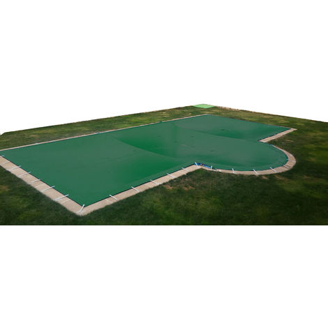 Lona de invierno para piscina de 3 x 4 m más 15 cm por cada lado para anclaje de color Verde (exterior) / Beige (interior)