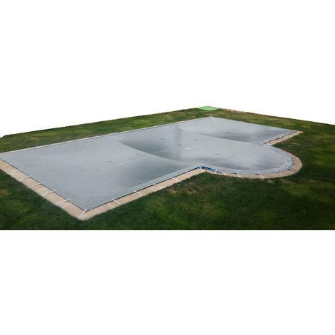 Lona de invierno para piscina de 3 x 4 m más 15 cm por cada lado para anclaje de color Gris (exterior) / Gris (interior)