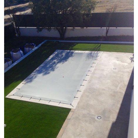 """Cubierta de piscina invierno de 6,30x3,30metros. (En una piscina de 6x3 metros la lona cubriría 15cm sobre todo el contorno de la piedra de coronación de la piscina). Color Gris(exterior)/Gris(interior). """" Toldo protección - Lona impermeable - Funda de PV"""