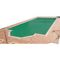 Cobertor de invierno para piscina de 3 x 3 m más 15 cm por cada lado para anclaje de color Verde (exterior) / Verde (interior)