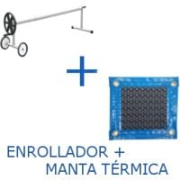 PACK MANTA TÉRMICA (COBERTOR TÉRMICO-CUBIERTA ISOTÉRMICA-TOLDO PARA PISCINA) DE 500 MICRAS NEW ENERGY CON REFUERZO EN TODO EL CONTORNO (5x3m) + ENROLLADOR TELESCÓPICO DE 81mm.