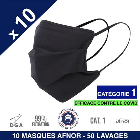 HEROLAB - 10 masques UNS 1 - Grand Public Afnor DGA - 50 lavages - Noir