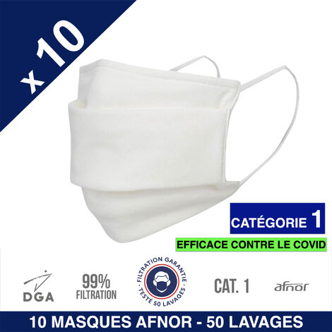 HEROLAB - 10 masques UNS 1 - Grand Public Afnor DGA - 50 lavages - Blanc