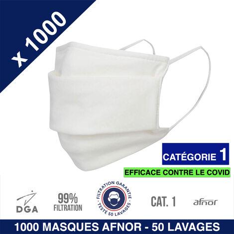 HEROLAB - 1000 masques en tissu lavables et réutilisables UNS 1 - Grand Public Afnor DGA - CATEGORIE 1- Filtration 99% - 50 lavages - BLANC