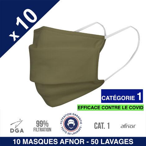HEROLAB - 10 masques en tissu lavables et réutilisables UNS 1 - Grand Public Afnor DGA - CATEGORIE 1- Filtration 99% - 50 lavages - KAKI